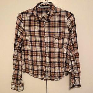 U2B Plaid Flannel Long Sleeve Button Up Shirt Sz M